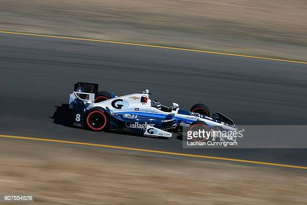 Max Chilton of England driver of the Gallagher Chip Ganassi Racing Chevrolet drives during warm up for the GoPro Grand Prix of Sonoma at Sonoma...