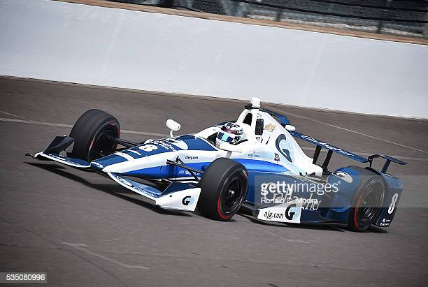 Max Chilton of England drives the Chevrolet IndyCar during practice at the Indianapolis Motorspeedway on May 18 2016 in Indianapolis Indiana