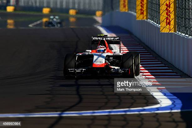 Max Chilton of Great Britain and Marussia drives during practice ahead of the Russian Formula One Grand Prix at Sochi Autodrom on October 10 2014 in...