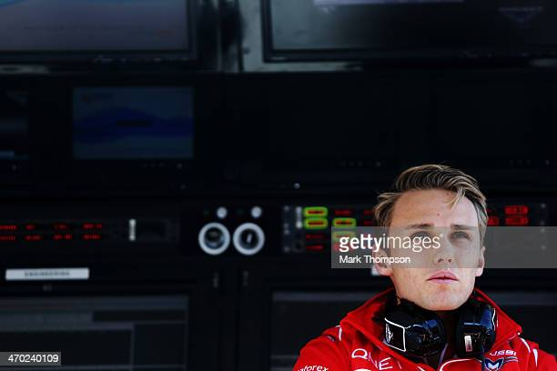 Max Chilton of Great Britain and Marussia is seen during day one of Formula One Winter Testing at the Bahrain International Circuit on February 19...