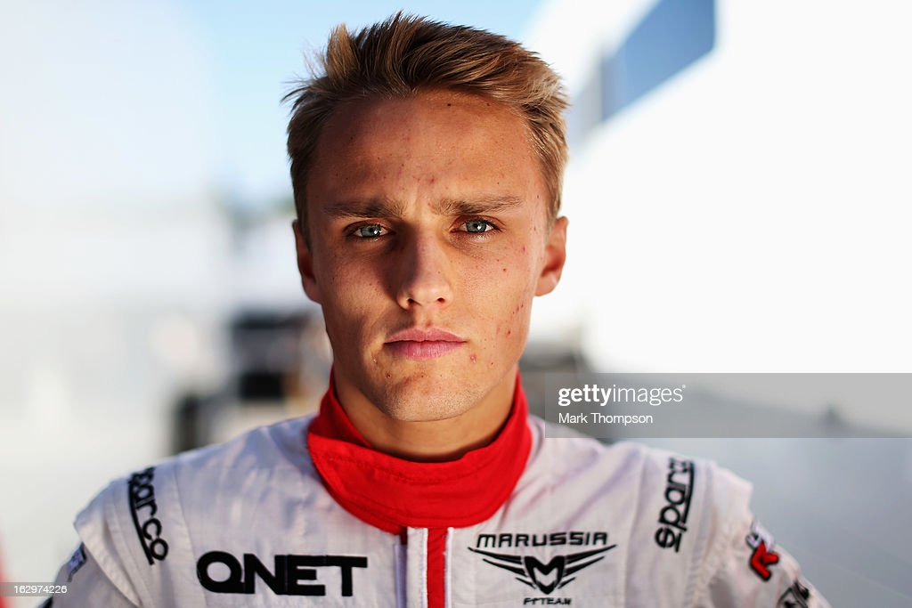 Max Chilton of Great Britain and Marussia poses for a photograph during day three of Formula One winter testing at the Circuit de Catalunya on March 2, 2013 in Montmelo, Spain.