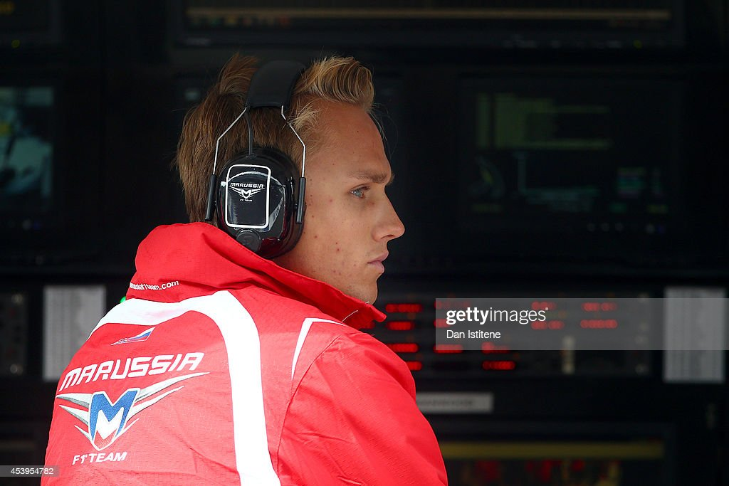 Max Chilton of Great Britain and Marussia sits on the pit wall during practice ahead of the Belgian Grand Prix at Circuit de Spa-Francorchamps on August 22, 2014 in Spa, Belgium.