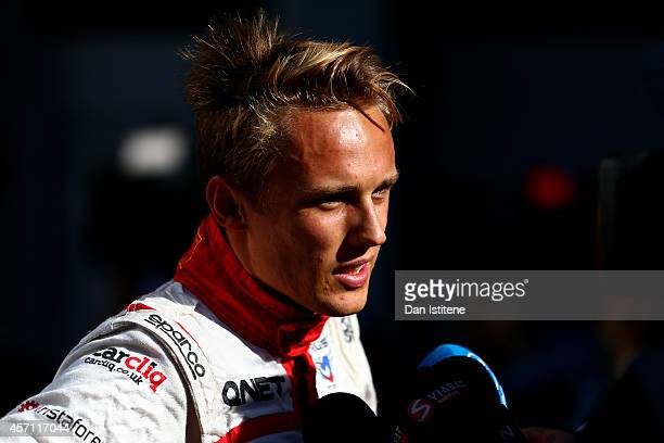 Max Chilton of Great Britain and Marussia speaks with members of the media during the Russian Formula One Grand Prix at Sochi Autodrom on October 12...