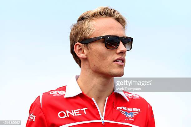 Max Chilton of Great Britain and Marussia walks around the track during previews ahead of the British Formula One Grand Prix at Silverstone Circuit...