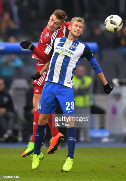 Max Christiansen of FC Ingolstadt 04 and Fabian Lustenberger of Hertha BSC during the game between Hertha BSC and FC Ingolstadt 04 on February 4 2017...