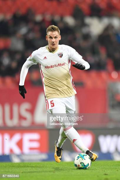 Max Christiansen of FC Ingolstadt 04 plays the ball during the Second Bundesliga match between 1 FC Nuernberg and FC Ingolstadt 04 at...