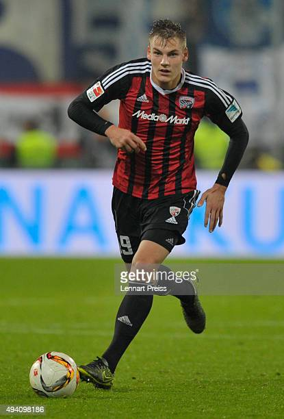 Max Christiansen of FC Ingolstadt in action during the Bundesliga match between FC Ingolstadt and Hertha BSC at Audi Sportpark on October 24 2015 in...