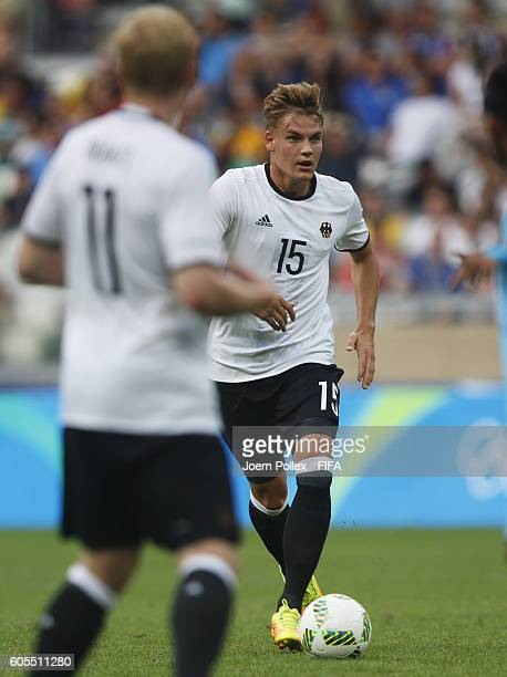 Max Christiansen of Germany controls the ball during the Men's Group C match between Germany and Fiji on Day 5 of the Rio2016 Olympic Games at...