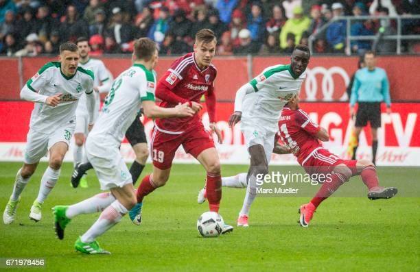 Max Christiansen of Ingolstadt with ball during the Bundesliga match between FC Ingolstadt 04 and Werder Bremen at Audi Sportpark on April 22 2017 in...