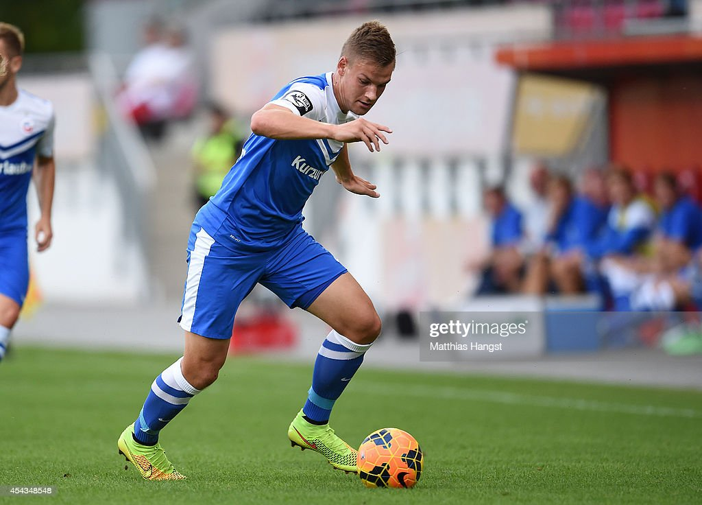 Max Christiansen of Rostock controls the ball during the Third league match between 1. FSV Mainz 05 II and Hansa Rostock at Bruchweg Stadium on August 29, 2014 in Mainz, Germany.