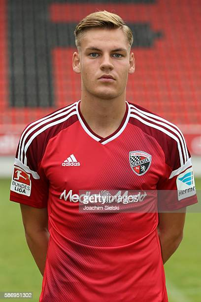 Max Christiansen poses during the official team presentation of FC Ingolstadt at Audi Sportpark on July 27 2016 in Ingolstadt Germany