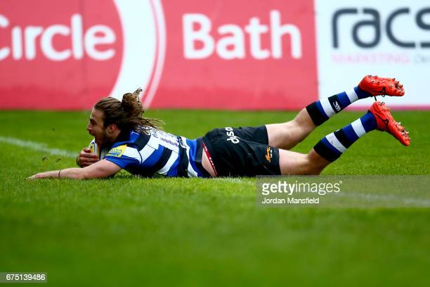Max Clark of Bath touches down a try during the Aviva Premiership match between Bath Rugby and Gloucester Rugby at the Recreation Ground on April 30...