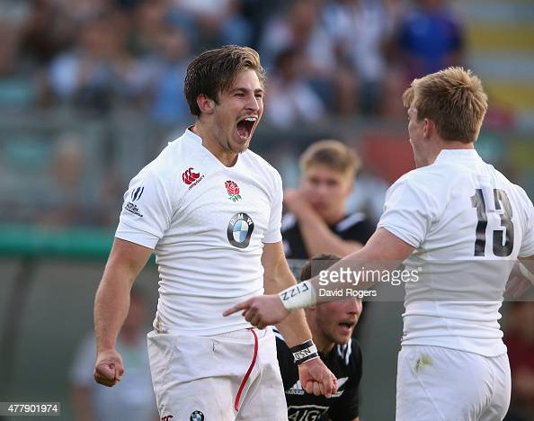Max Clark of England celebrates after scoring the first try during the World Rugby U20 Championship final match between England and New Zealand at...