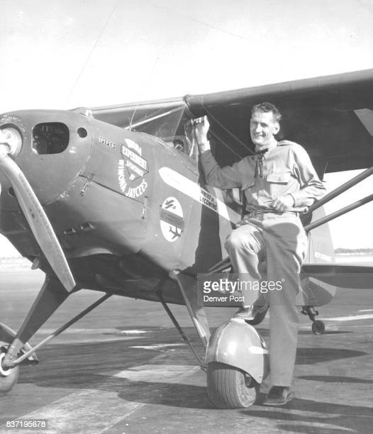 Max Conrad Winona Minn flying 'Paul Revere' who landed in Denver Aug 31 the 40th state capital visited since leaving Wash Aug 17 on 14500mile flight...