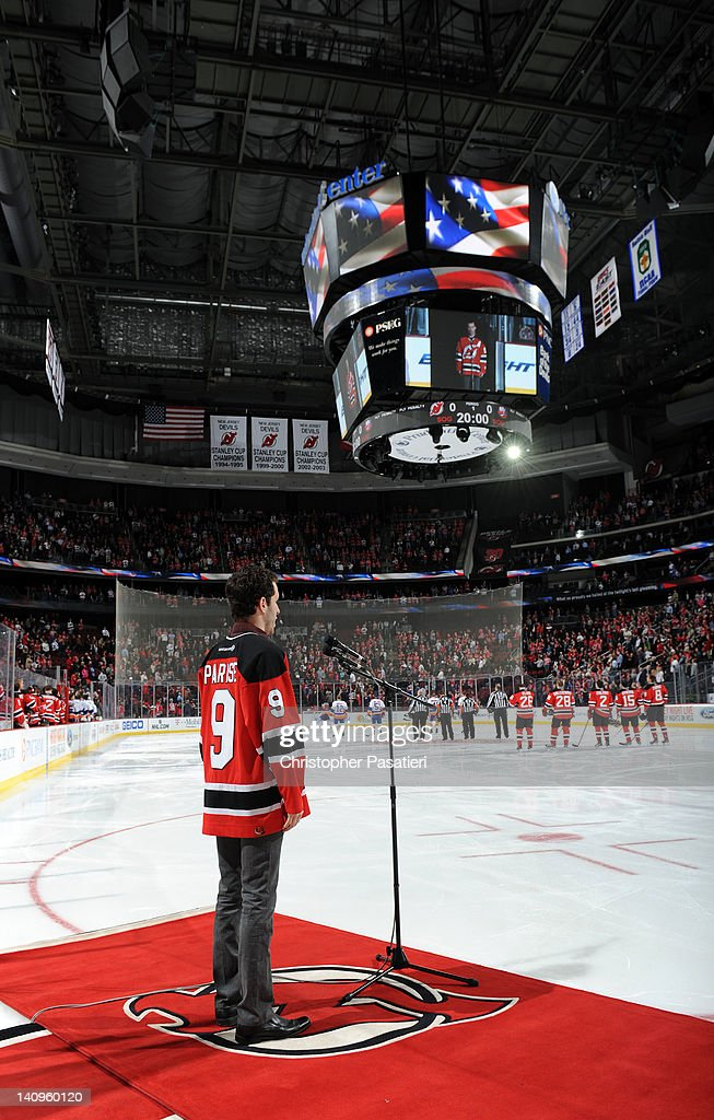 Max DeFrancesco sings the mational anthem prior to the game between the New York Islanders and New Jersey Devils on March 8, 2012 at the Prudential Center in Newark, New Jersey.