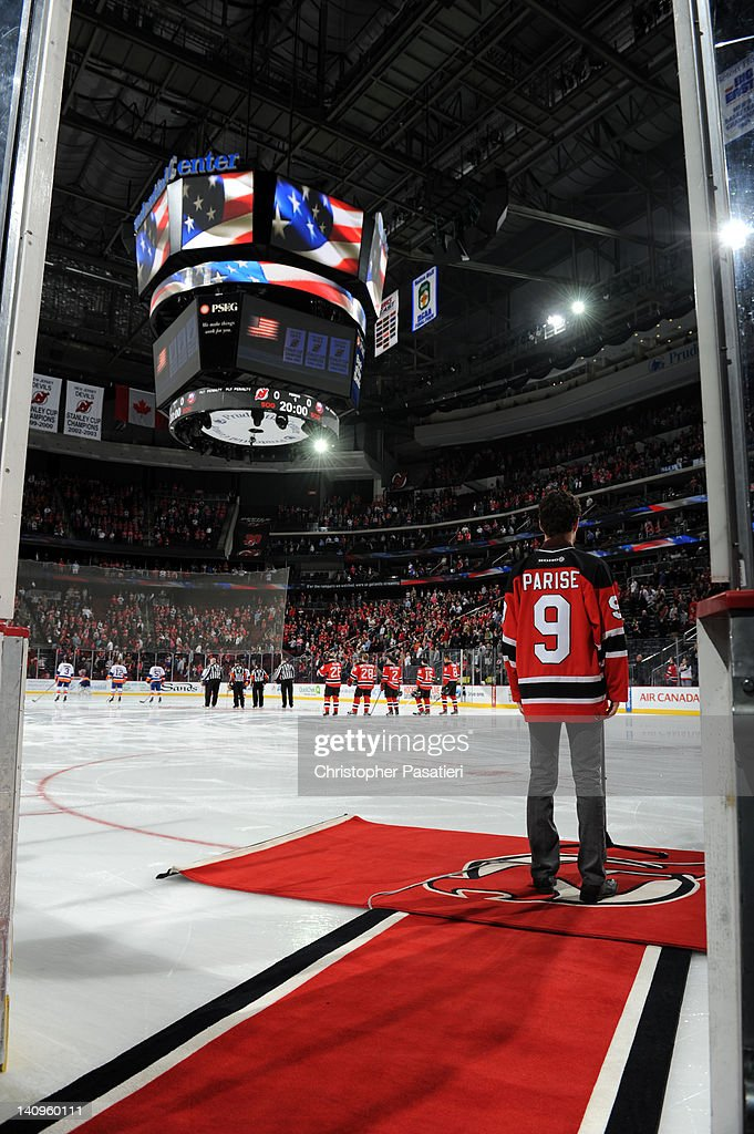 Max DeFrancesco sings the national anthem prior tot he game between the New York Islanders and New Jersey Devils on March 8, 2012 at the Prudential Center in Newark, New Jersey.