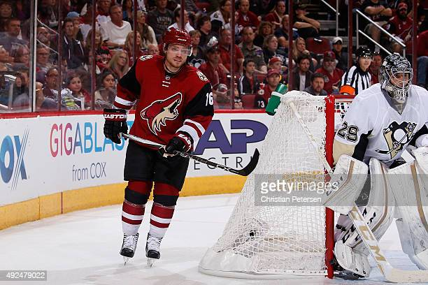Max Domi of the Arizona Coyotes in action during the NHL game against the Pittsburgh Penguins at Gila River Arena on October 10 2015 in Glendale...