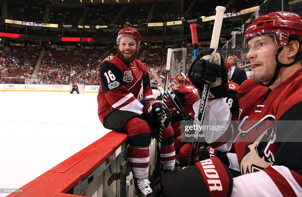 Max Domi #16 of the Arizona Coyotes looks toward the Colorado Avalanche bench and laughs during the third period at Gila River Arena on March 13, 2017 in Glendale, Arizona. The Coyotes defeated the Avalanche 1-0.