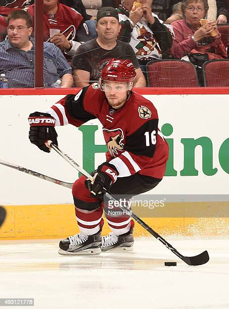 Max Domi of the Arizona Coyotes skates with the puck against the Pittsburgh Penguins at Gila River Arena on October 10 2015 in Glendale Arizona