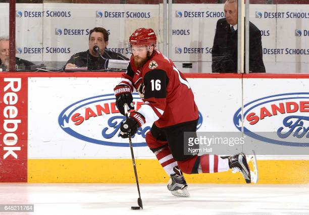 Max Domi of the Arizona Coyotes skates with the puck against the Anaheim Ducks at Gila River Arena on February 20 2017 in Glendale Arizona