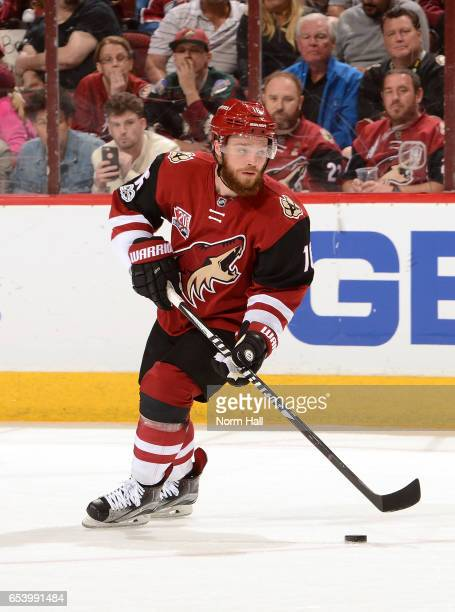 Max Domi of the Arizona Coyotes skates with the puck against the Colorado Avalanche at Gila River Arena on March 13 2017 in Glendale Arizona