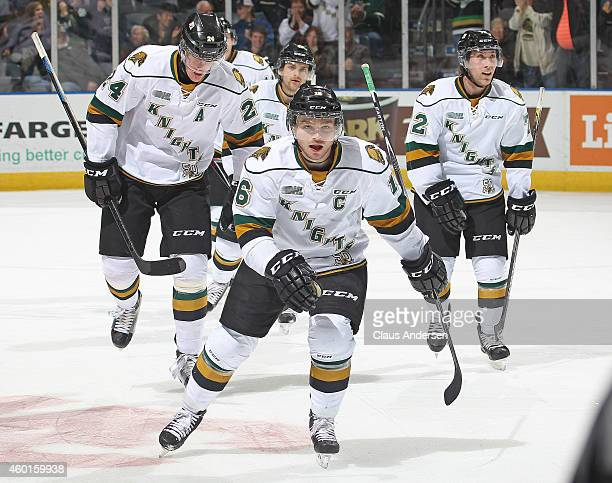 Max Domi of the London Knights celebrates his game tying goal to send it to overtime against the North Bay Battalion in an OHL game at Budweiser...