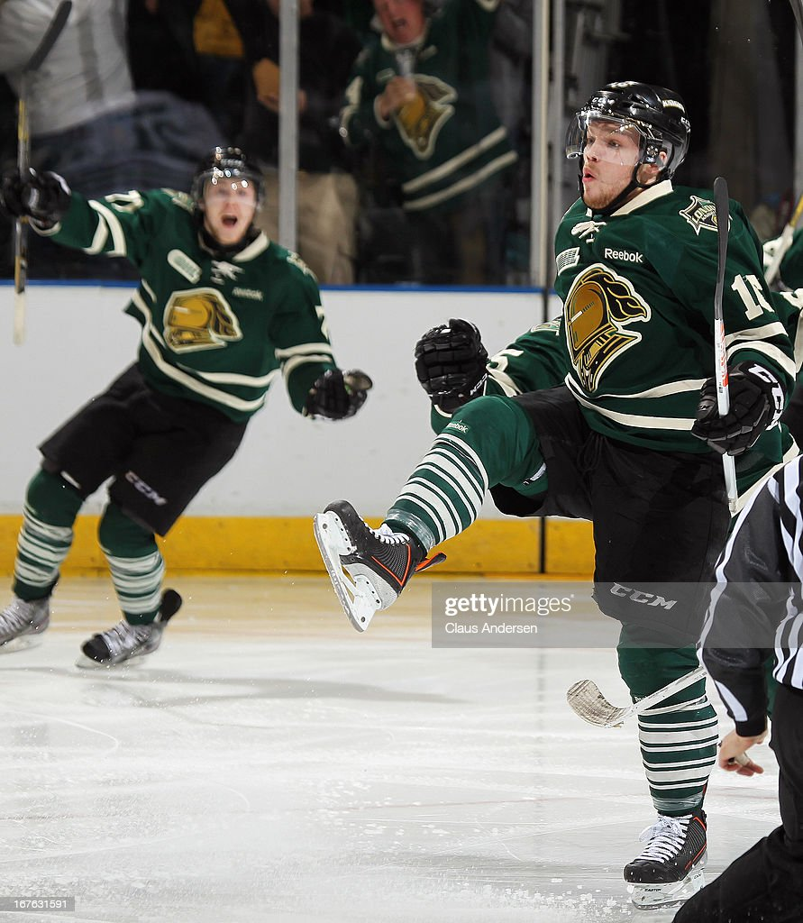 Max Domi #16 of the London Knights celebrates his game-winning goal in overtime in game five of the Western Conference Final against the Plymouth Whalers on April 26, 2013 at the Budweiser Gardens in London, Ontario, Canada. The Knights defeated the Whalers 5-4 in overtime to win the series 4 games to 1.