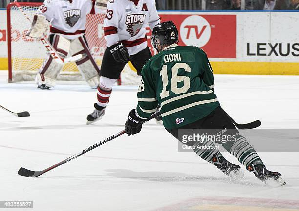 Max Domi of the London Knights gets set to fire a shot against the Guelph Storm in Game Three of the OHL Western Conference SemiFinal at the...