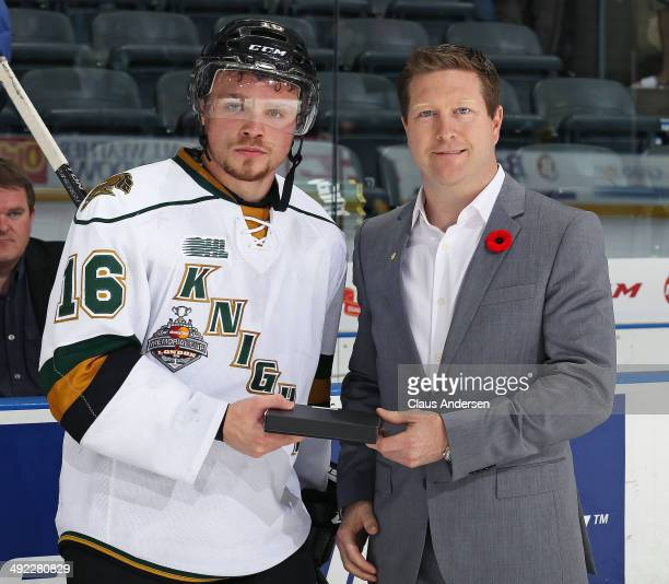 Max Domi of the London Knights receives 3rd star award after play against the Edmonton Oil Kings in Game Three of the 2014 MasterCard Memorial Cup at...