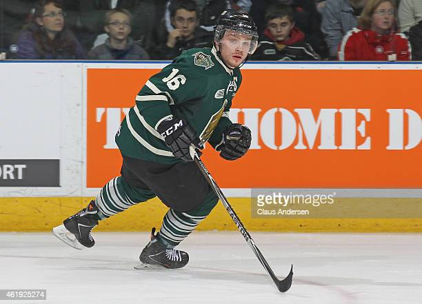 Max Domi of the London Knights skates against the Kitchener Rangers in an OHL game at Budweiser Gardens on January 20 2015 in London Ontario Canada...