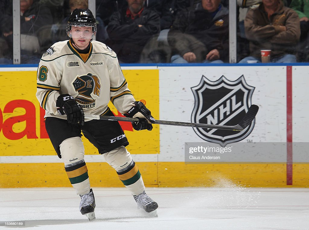 Max Domi #16 of the London Knights skates in an OHL game against the Windsor Spitfires on October 5, 2012 at the Budweiser Gardens in London, Canada. The Knights defeated the Spitfires 8-2.