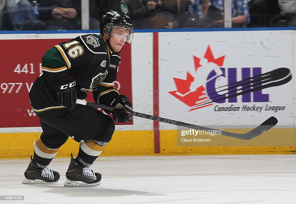 Max Domi #16 of the London Knights skates in an OHL game against the Sarnia Sting on January 1, 2013 at the Budweiser Gardens in London, Canada. The Sting defeated the Knights 6-5 in overtime to snap London's 24 game winning streak.