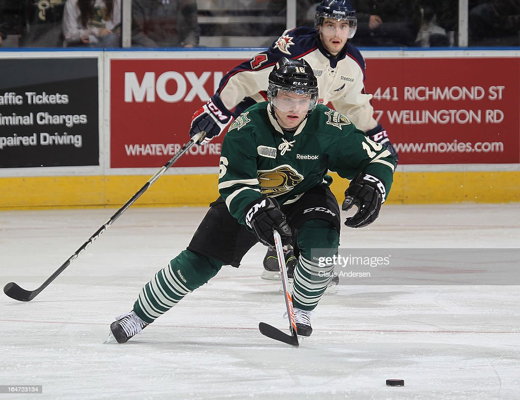 Max Domi #16 of the London Knights skates with the puck in a first round playoff game against the Saginaw Spirit on March 24, 2013 at the Budweiser Gardens in London, Ontario, Canada. The Knights defeated the Spirit 3-2 in double overtime to take a 2-0 series lead.
