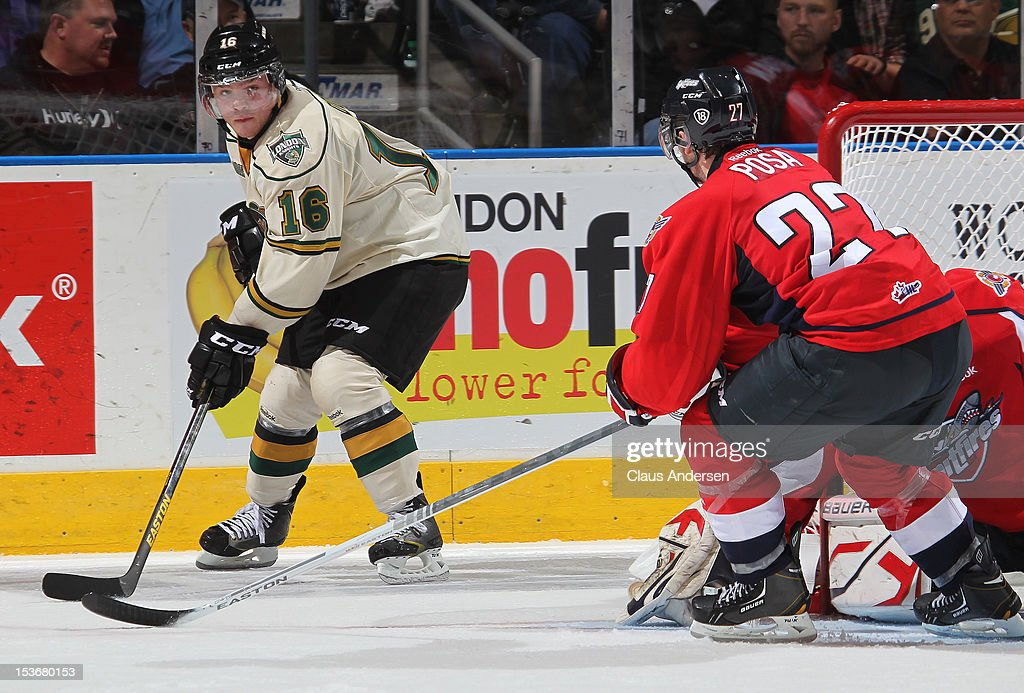 Max Domi #16 of the London Knights skates with the puck in an OHL game against the Windsor Spitfires on October 5, 2012 at the Budweiser Gardens in London, Canada. The Knights defeated the Spitfires 8-2.