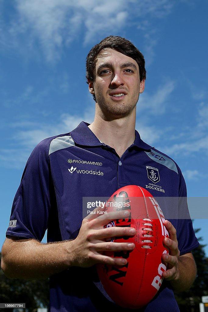 Max Duffy poses during a Fremantle Dockers AFL pre-season media session at Fremantle Oval on November 26, 2012 in Fremantle, Australia.