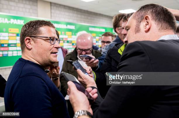 Max Eberl of Borussia Moenchengladbach speaks to the media after the Bundesliga match between Borussia Moenchengladbach and 1 FC Koeln at...