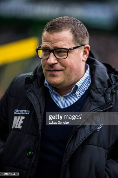 Max Eberl of Moenchengladbach is seen prior to the Bundesliga match between Borussia Moenchengladbach and Bayern Muenchen at BorussiaPark on March 19...