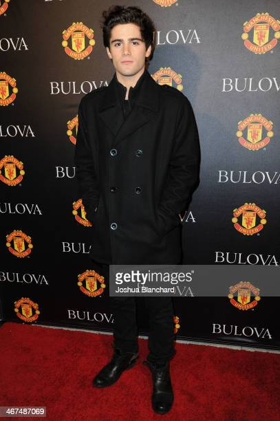 Max Erhich arrives at the Bulova/Manchester United Trophy Tour Red Carpet Event at the W Hollywood on February 6 2014 in Hollywood California