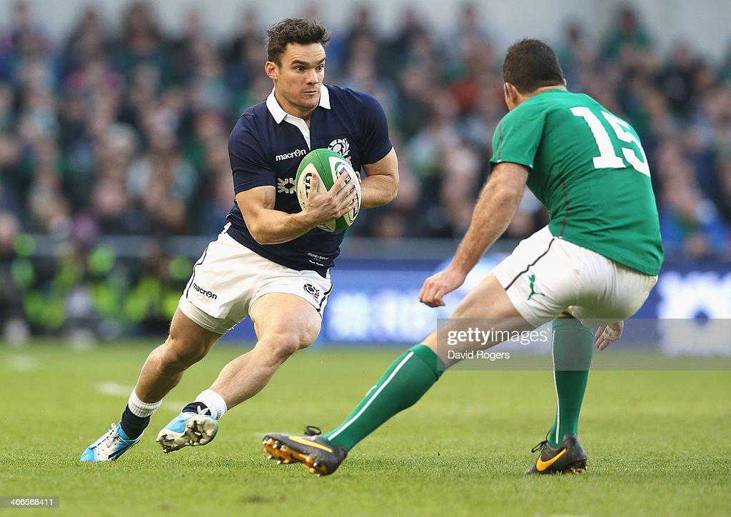 Max Evans of Scotland takes on Rob Kearney during the RBS Six Nations match between Ireland and Scotland at the Aviva Stadium on February 2, 2014 in Dublin, Ireland.