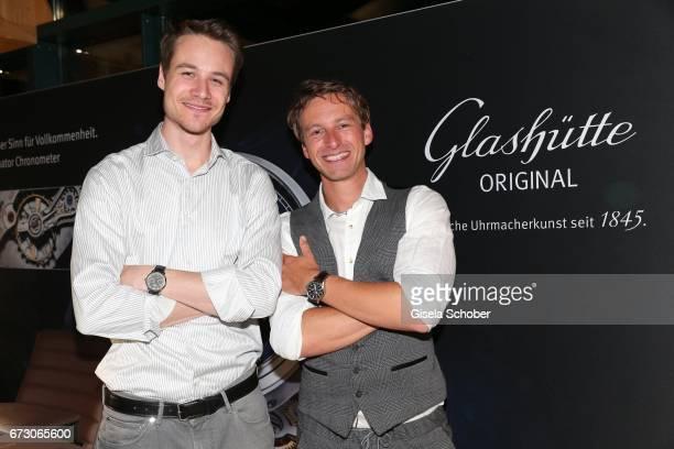 Max Felder and Benedikt 'Ben' Blaskovic during the piano night hosted by Wempe and Glashuette Original at Gruenwalder Einkehr on April 25 2017 in...