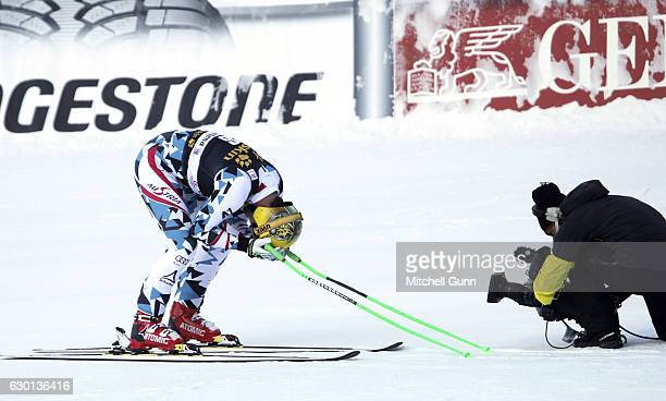 Max Franz of Austria reacts in the finish area after winning the Audi FIS Alpine Ski World Cup Men's Downhill race on December 17 2016 at Val Gardena...