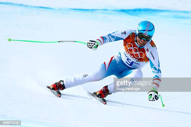 Max Franz of Austria skis during the Alpine Men's Downhill on day two of the Sochi 2014 Winter Olympics at Rosa Khutor Alpine Center on February 9...