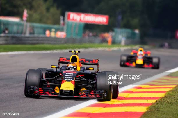 Max from Nederlans of Red Bull Tag Heuer during the Formula One Belgian Grand Prix at Circuit de SpaFrancorchamps on August 27 2017 in Spa Belgium
