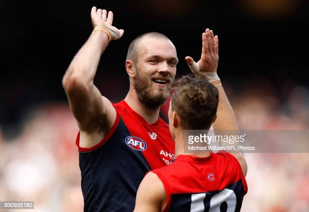 Max Gawn and Jake Melksham of the Demons celebrates during the 2017 AFL round 21 match between the Melbourne Demons and the St Kilda Saints at the...