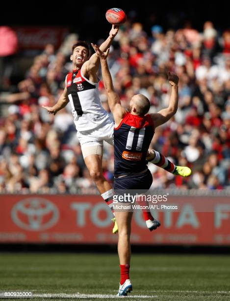 Max Gawn of the Demons and Billy Longer of the Saints compete in a ruck contest during the 2017 AFL round 21 match between the Melbourne Demons and...