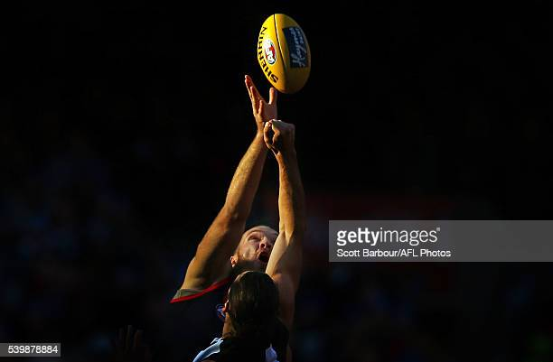 Max Gawn of the Demons and Brodie Grundy of the Magpies compete for the ball during the round 12 AFL match between the Melbourne Demons and the...