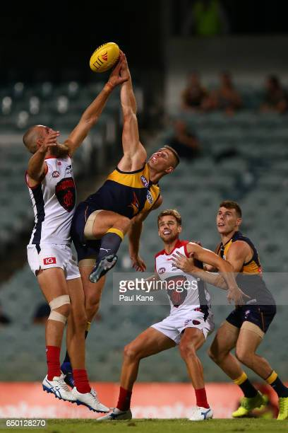 Max Gawn of the Demons and Nathan Vardy of the Eagles contest the ruck during the JLT Community Series AFL match between the West Coast Eagles and...
