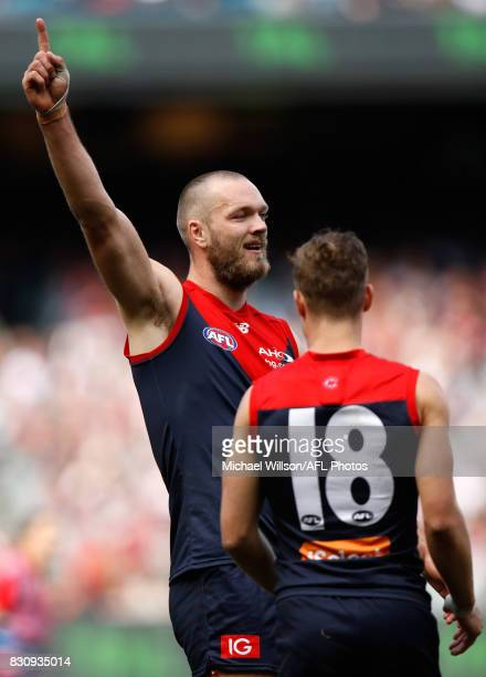 Max Gawn of the Demons celebrates a goal during the 2017 AFL round 21 match between the Melbourne Demons and the St Kilda Saints at the Melbourne...