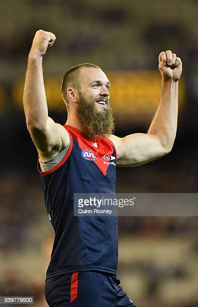 Max Gawn of the Demons celebrates after kicking a goal during the round 12 AFL match between the Melbourne Demons and the Collingwood Magpies at...