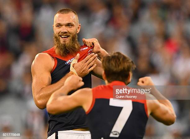 Max Gawn of the Demons celebrates after kicking a goal during the round four AFL match between the Collingwood Magpies and the Melbourne Demons at...